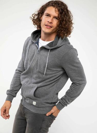 DeFacto Basic Kapşonlu Sweatshirt Hırka Gri